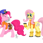 pinkie_pie_and_fluttershy_as_engineers_by_salahir-d5sv471