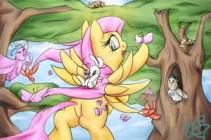 Fluttershy in a park with all sorts of animals by  AquaticSun
