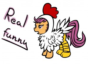 Scootaloo in a Chicken suit by Yooyfull