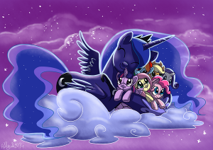 Luna hugging plushies mane6 by Adlynh