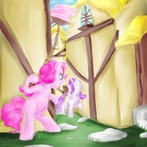 Pinkie Pie Dropping a Cake on Rarity by AquaticSun