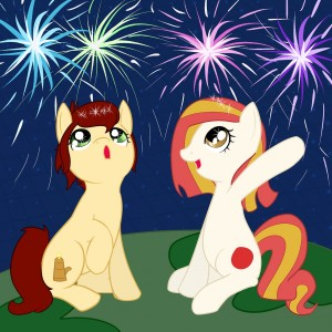 Canni and Poniko celebrating Hanabi by Ikasama