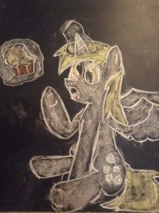 Alicorn Derpy Hooves/ Ditzy Doo eating a muffin by colonel210