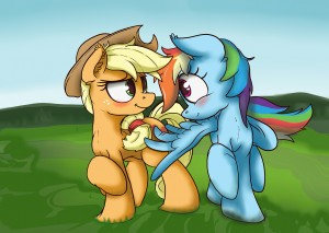Rainbow Dash flirtatiously touching Applejack's cutie mark with a wing by ChuckyBB